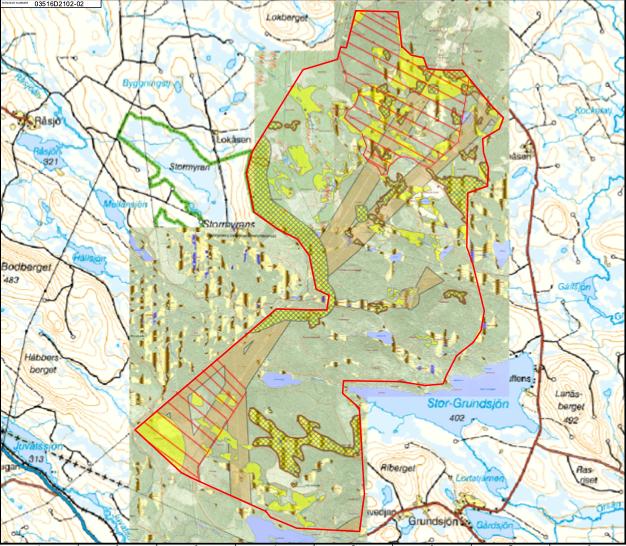 Björnberget - karta över vindindustriområde, Ånge kommun